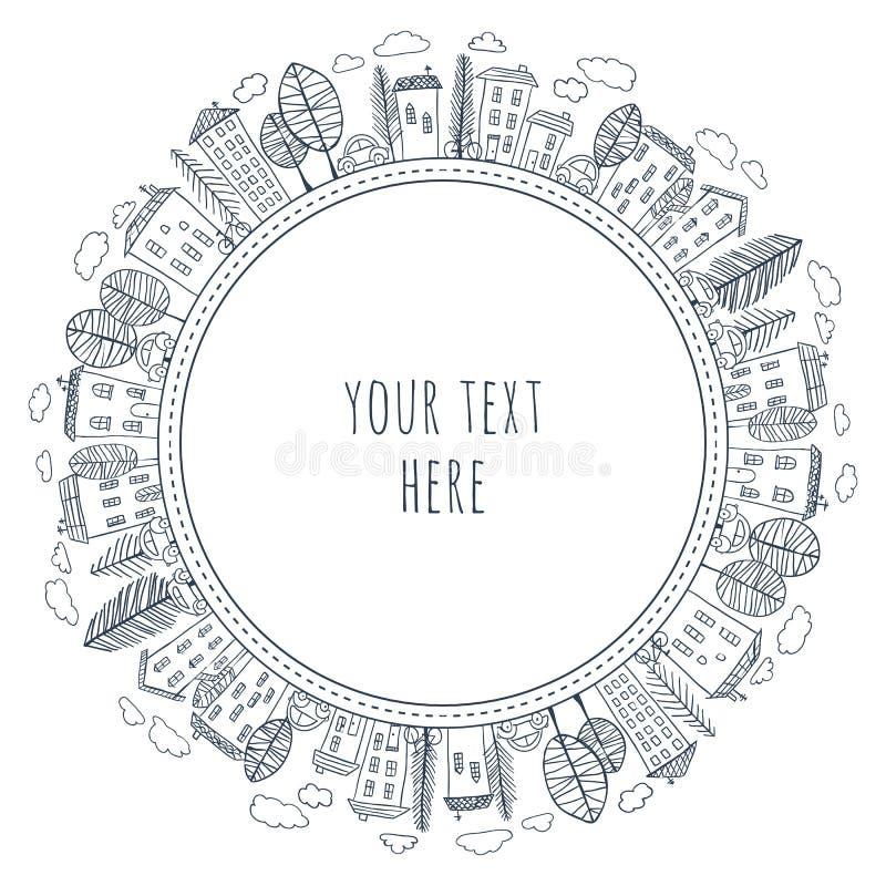 Garatujas das casas no círculo ilustração do vetor