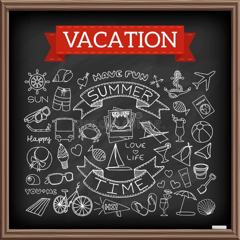 Garatujas das férias na placa de giz ilustração do vetor