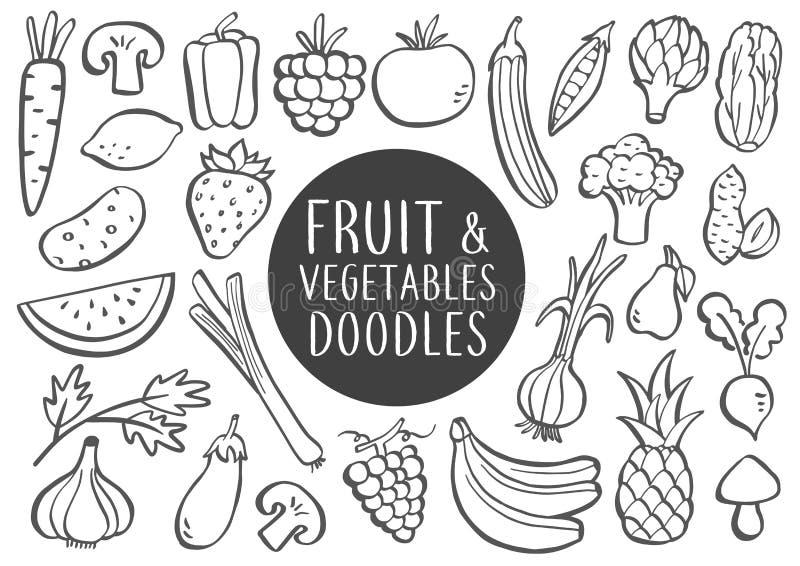 Garatujas das frutas e legumes ilustração royalty free