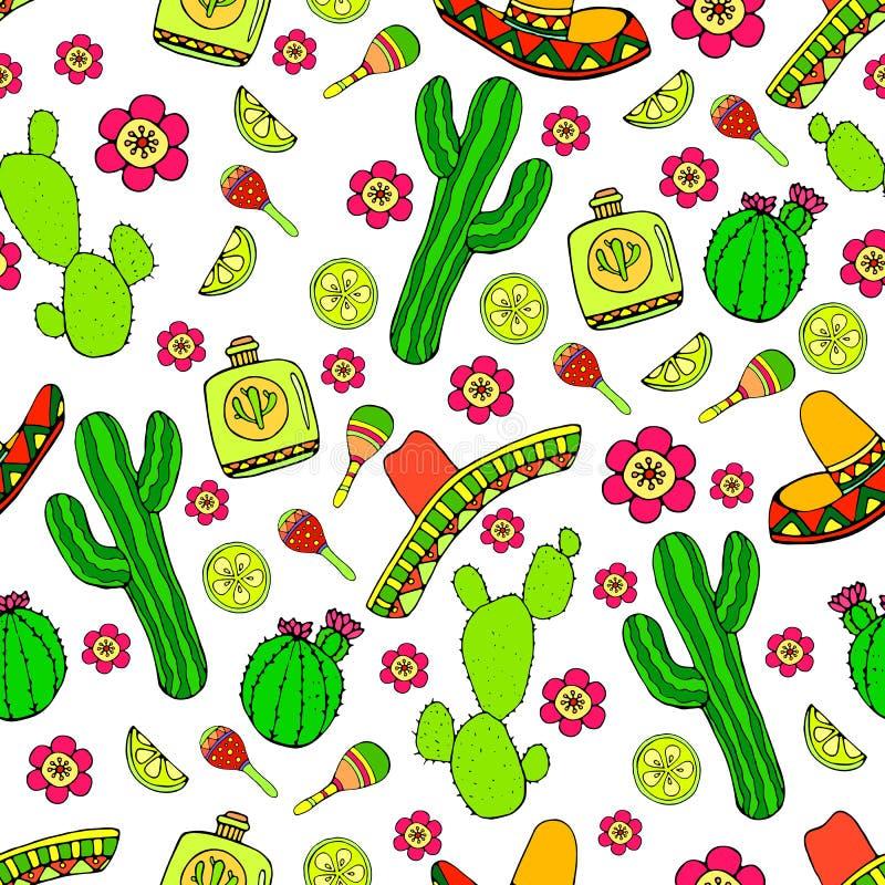 Garatujas desenhados à mão dos desenhos animados coloridos a propósito de Amer latino ilustração do vetor
