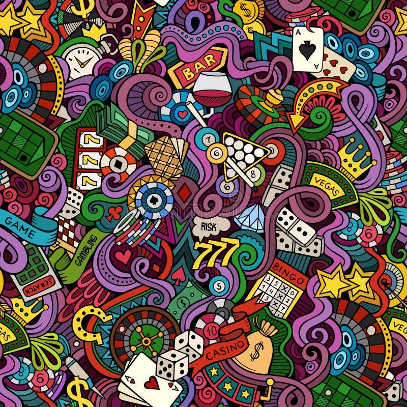 Garatujas desenhados à mão dos desenhos animados a propósito do estilo do casino ilustração stock