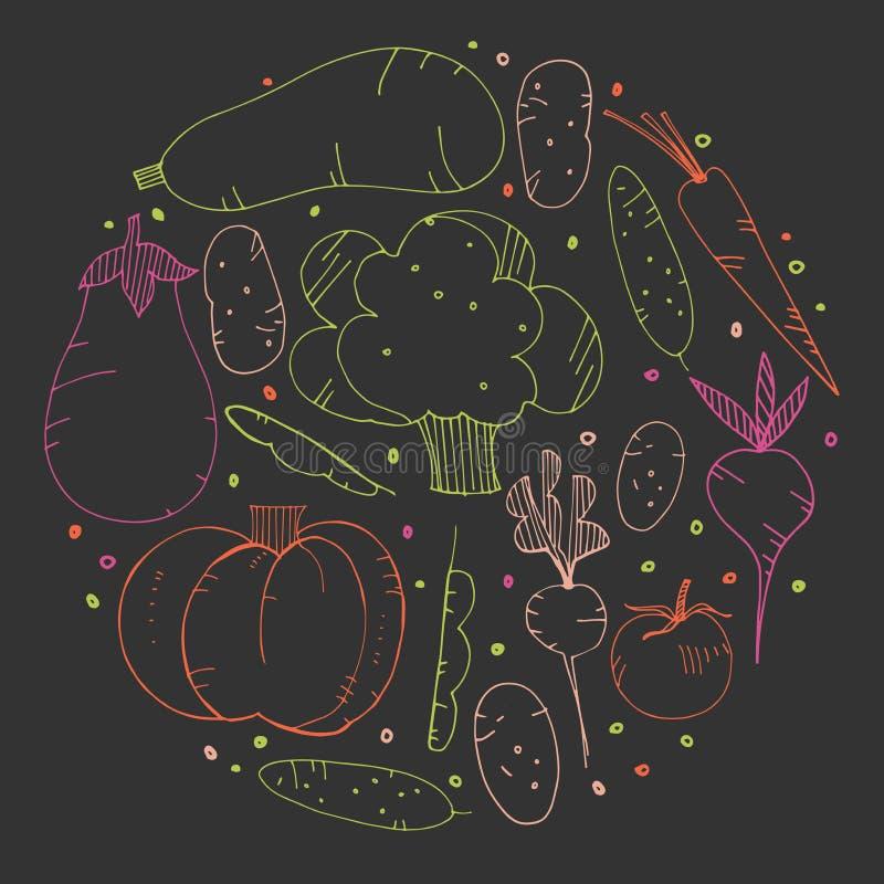 Garatujas desenhados à mão dos vegetais Ilustração do vetor ilustração royalty free