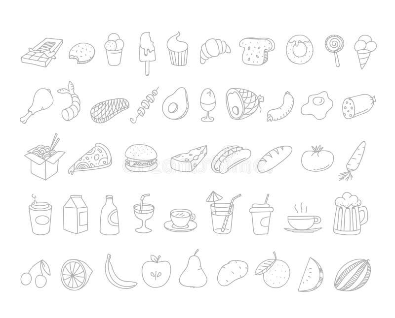 Garatujas diferentes do alimento Elementos desenhados à mão de Lineart ilustração royalty free