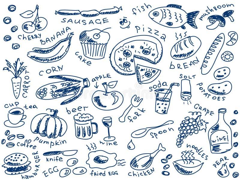 Garatujas do alimento ilustração do vetor
