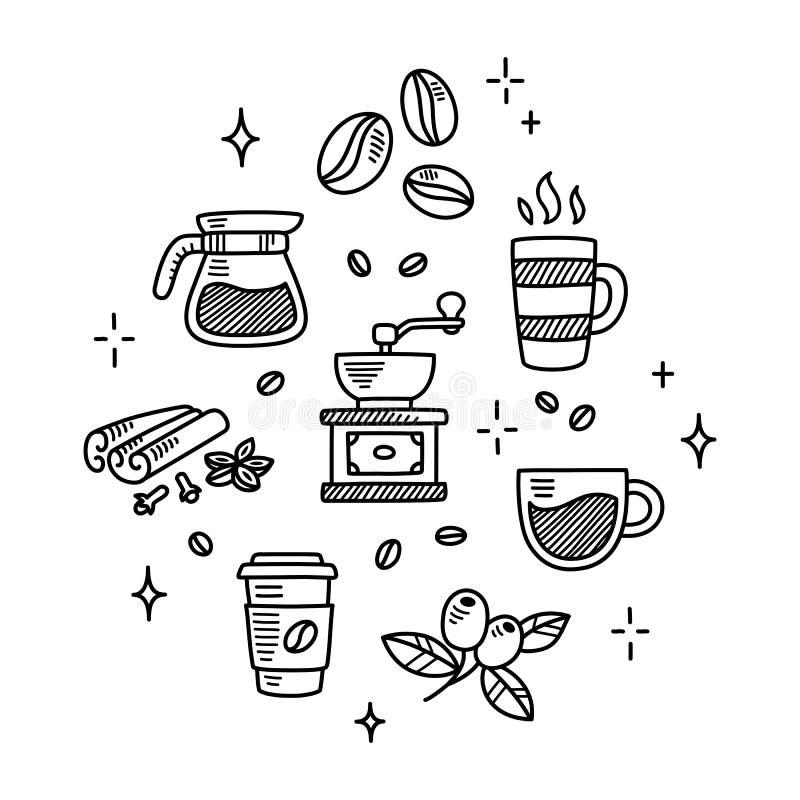 Garatujas do café ilustração royalty free