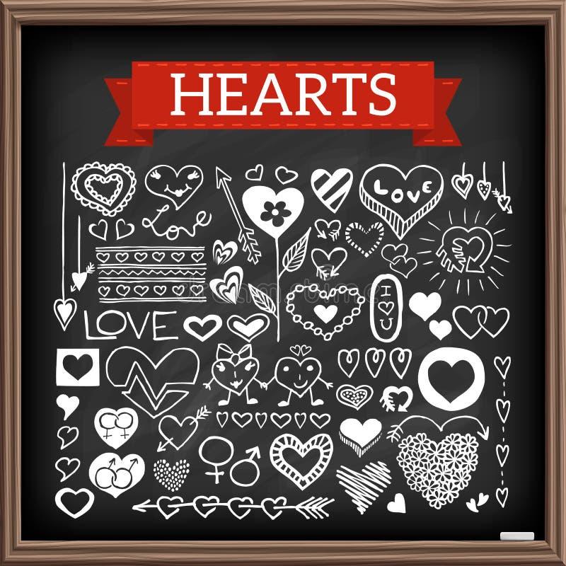 Garatujas do coração ajustadas ilustração royalty free