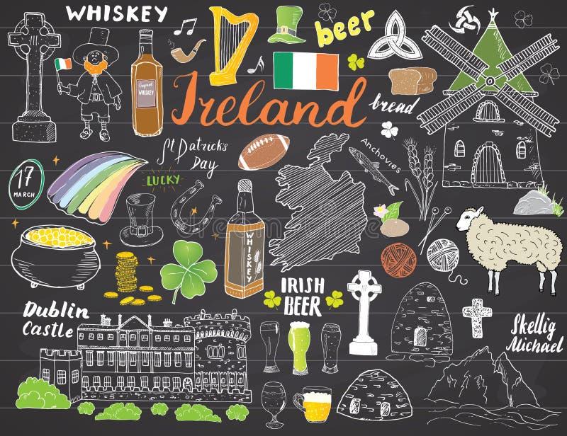 Garatujas do esboço da Irlanda Entregue o grupo de elementos irlandês tirado com bandeira e mapa da Irlanda, cruz celta, castelo, ilustração do vetor
