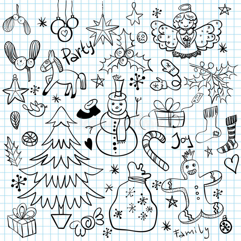 Garatujas do feriado do Natal e de inverno ilustração royalty free