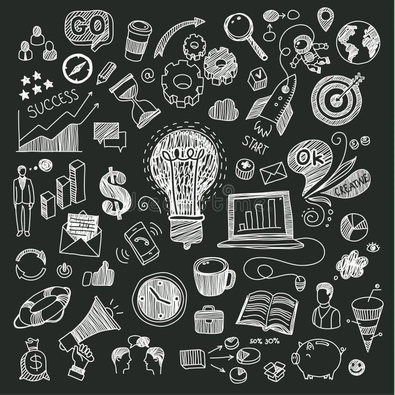 Garatujas do negócio no quadro-negro ilustração do vetor