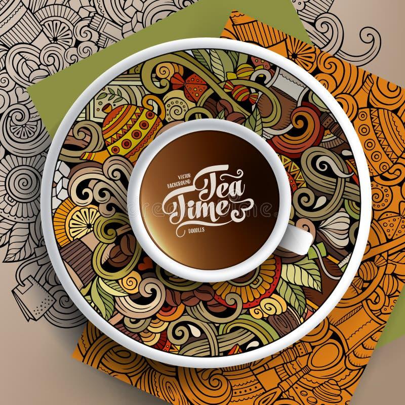 Garatujas do tempo da xícara de café e do chá ilustração do vetor