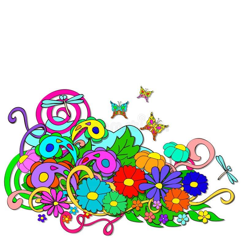 Garatujas do verão com flores e redemoinho ilustração do vetor