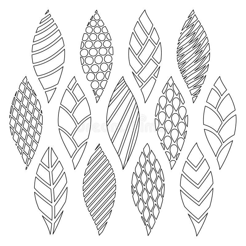 Garatujas do verão com testes padrões geométricos diferentes ilustração do vetor