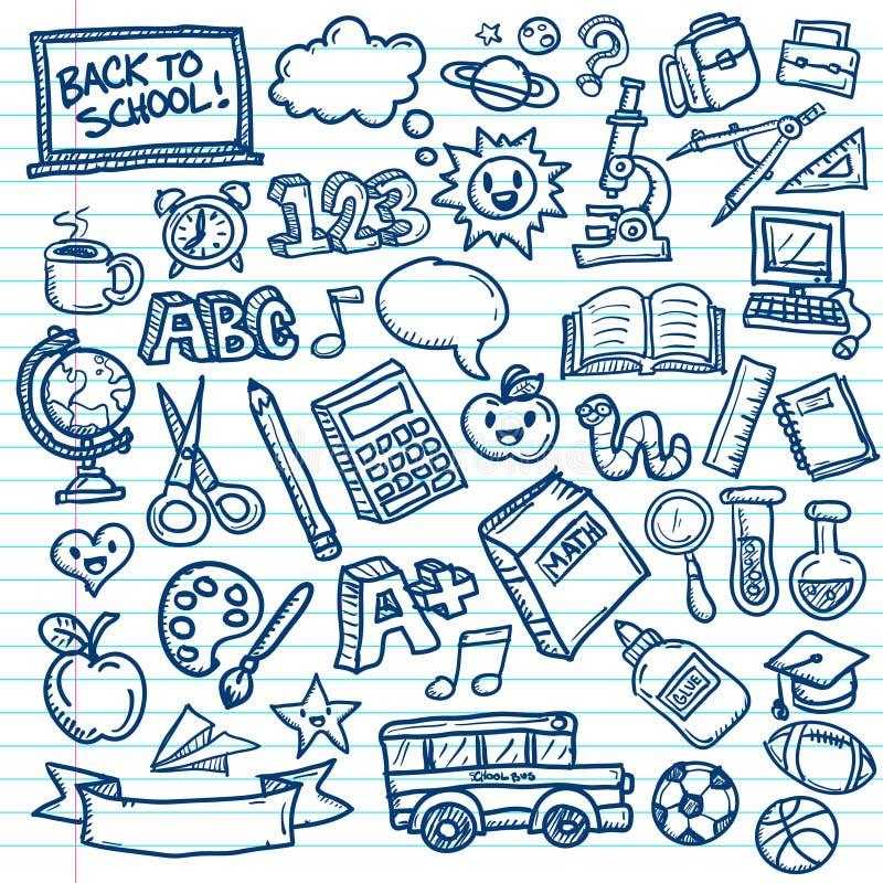 Garatujas do vetor da escola ilustração do vetor