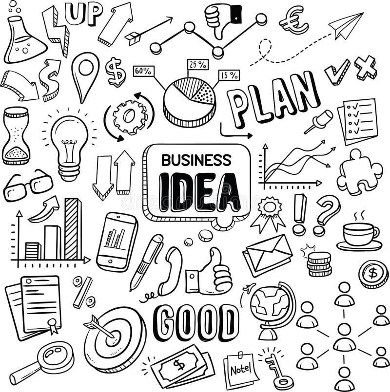 Garatujas do vetor da ideia do negócio ilustração stock