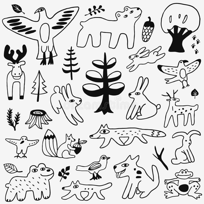 Garatujas dos animais ajustadas ilustração do vetor