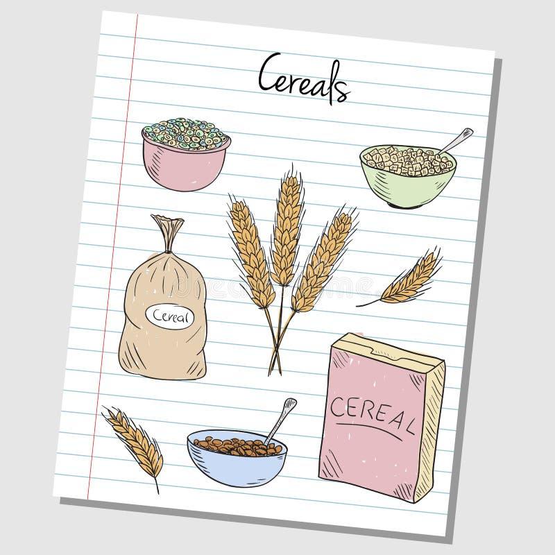 Garatujas dos cereais - papel alinhado ilustração stock