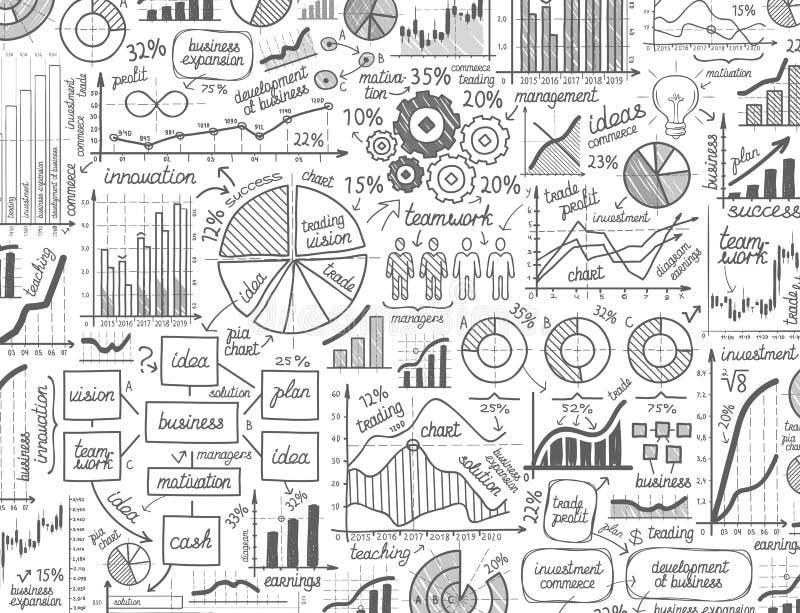 Garatujas dos gráficos de negócio do vetor de Infographic ilustração do vetor