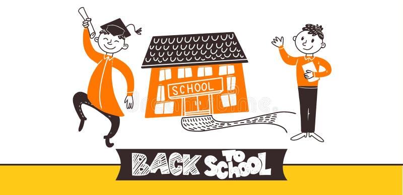 Garatujas dos meninos e da escola do adolescente ilustração royalty free