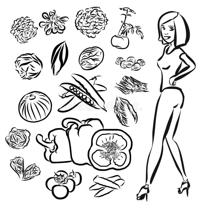 Garatujas dos vegetais com menina de Healty ilustração royalty free