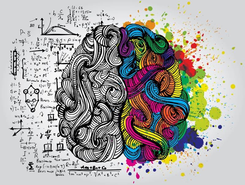 Garatujas esboçado brilhantes sobre o cérebro ilustração royalty free
