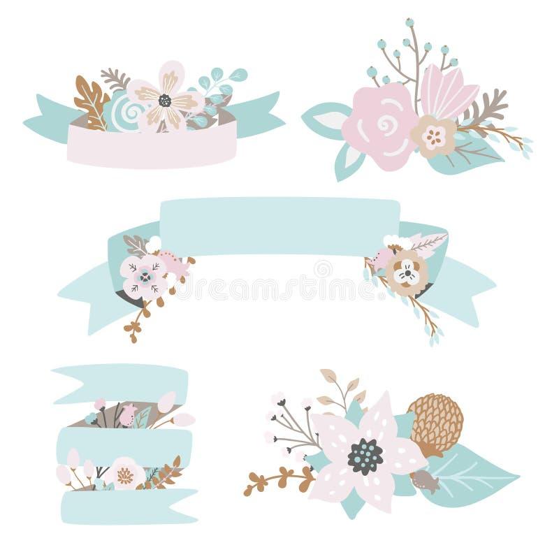 Garatujas florais, folhas, ramos, flores, fitas e bandeiras ajustados ilustração do vetor