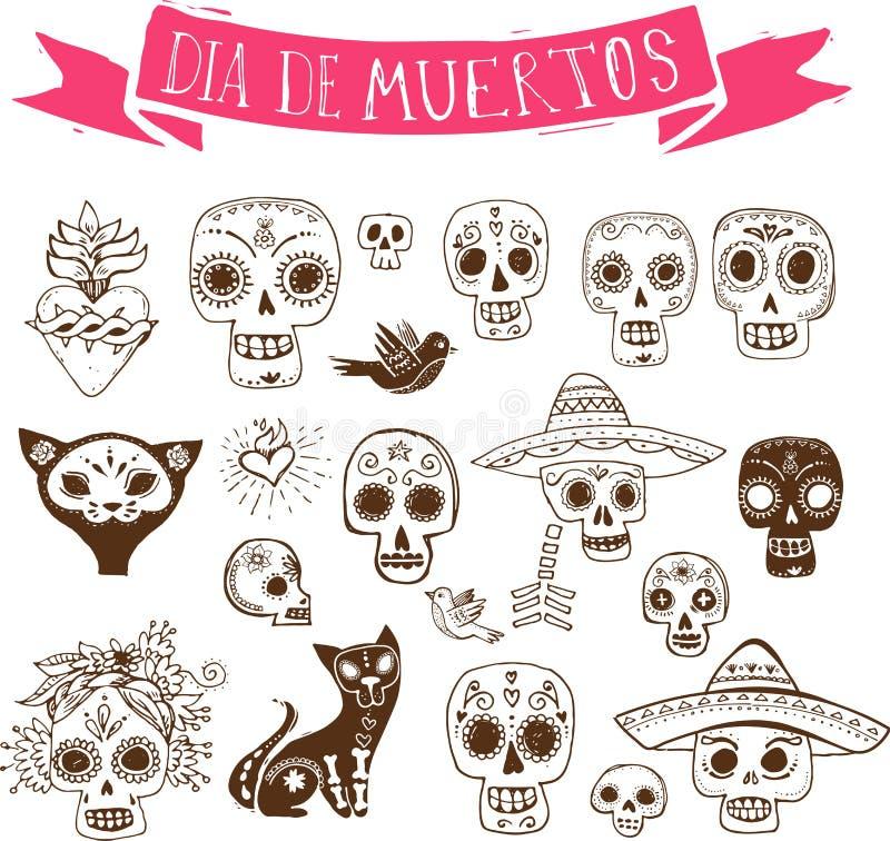Garatujas, grupo mexicano do crânio, dia dos mortos ilustração stock