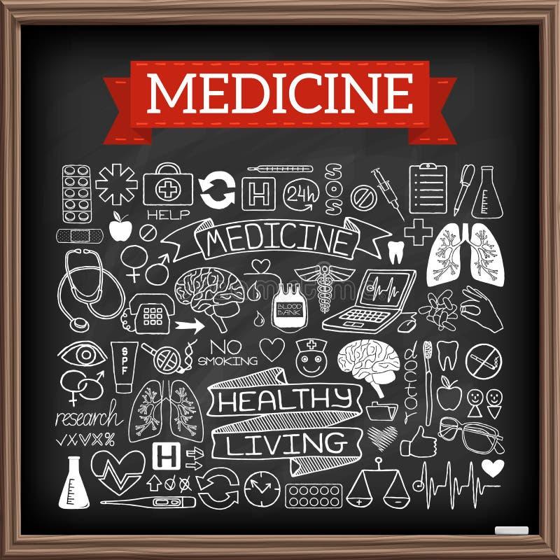 Garatujas médicas na placa de giz ilustração stock
