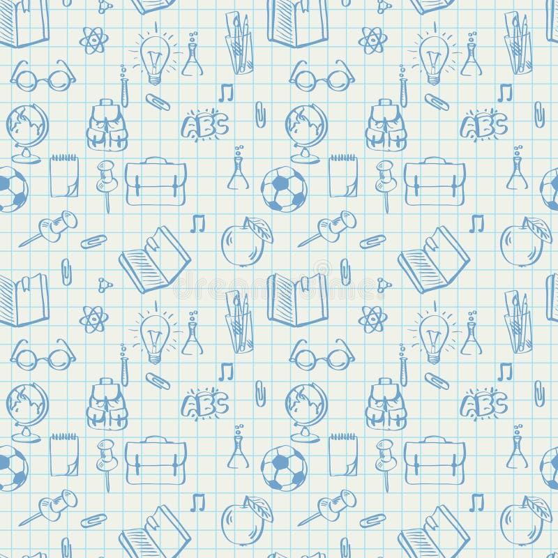 Garatujas sem emenda do teste padrão da escola no papel da matemática ilustração do vetor