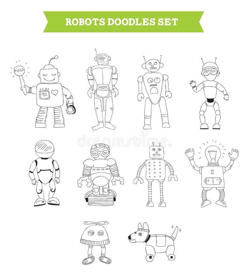 Garatujas simples dos robôs ajustadas ilustração royalty free