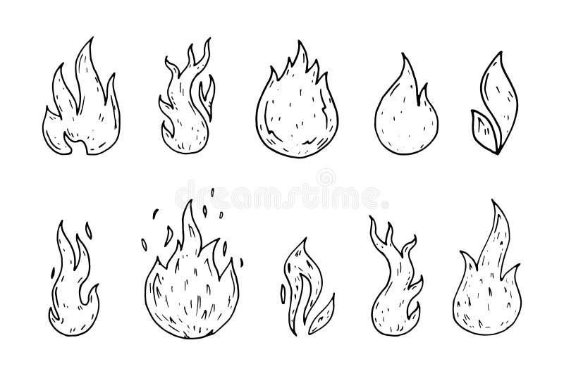 Garatujas tiradas mão dos ícones do fogo ajustadas Ícones do estilo do esboço Decoratio ilustração royalty free
