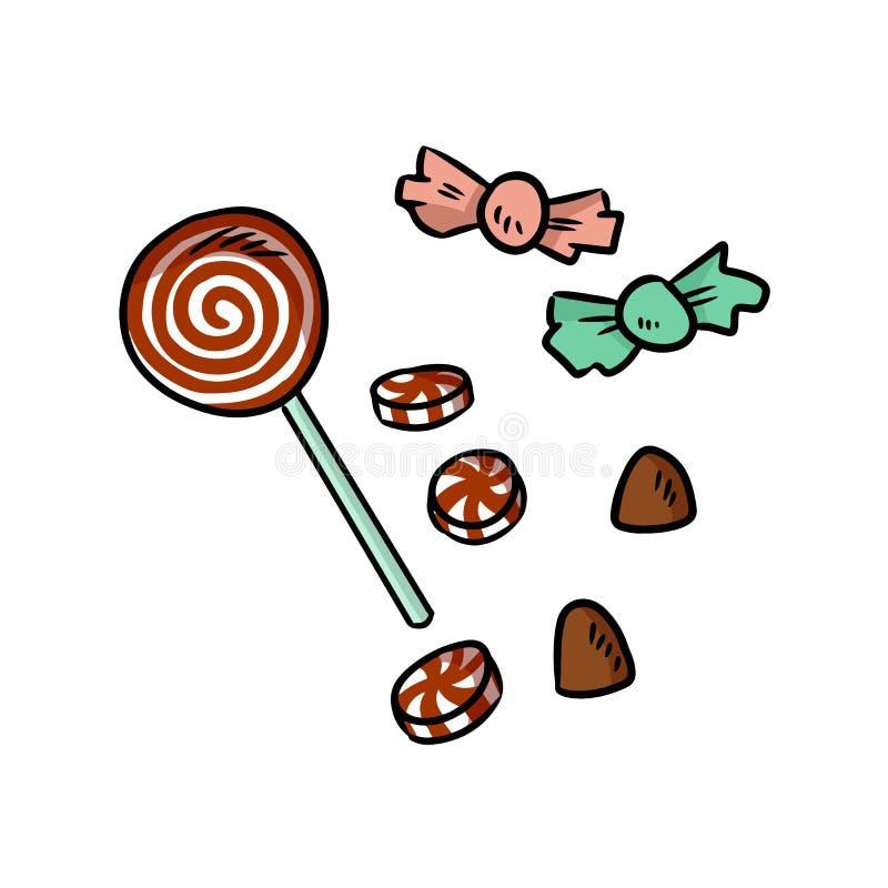 Garatujas tiradas mão dos doces e dos doces dos desenhos animados do Natal ilustração stock