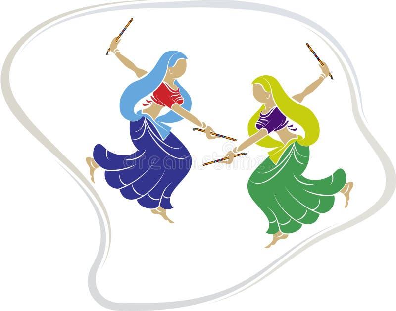 Garba (Dandia) är en indisk dans stock illustrationer