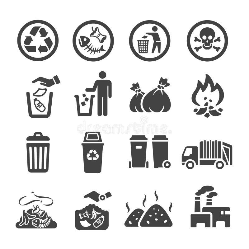 Garbag symbolsuppsättning royaltyfri illustrationer