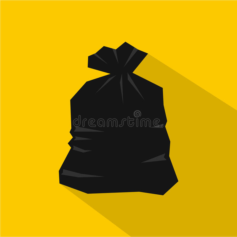 Garbage bag icon, flat style vector illustration