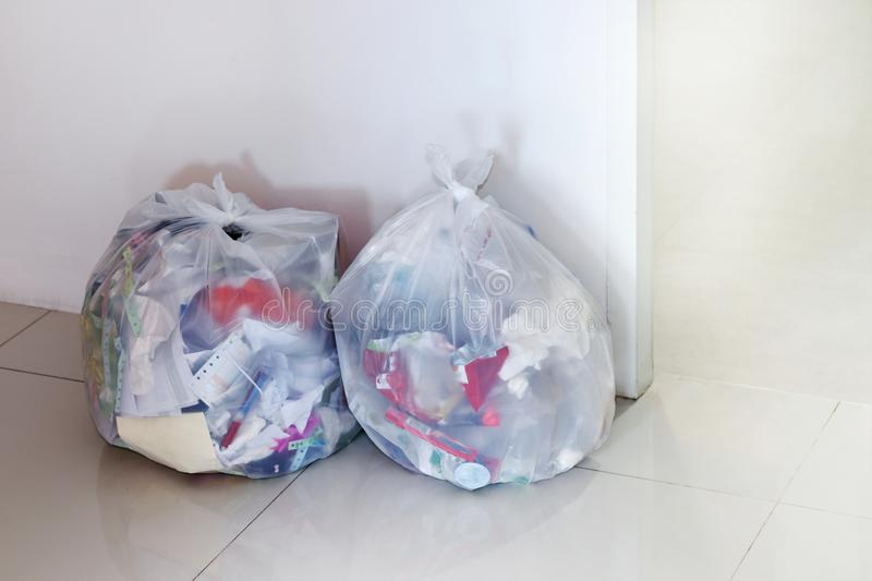 Garbage bag in the office, White garbage bag trash, Dry waste, Recyclable waste paper scrap, 3R stock photography
