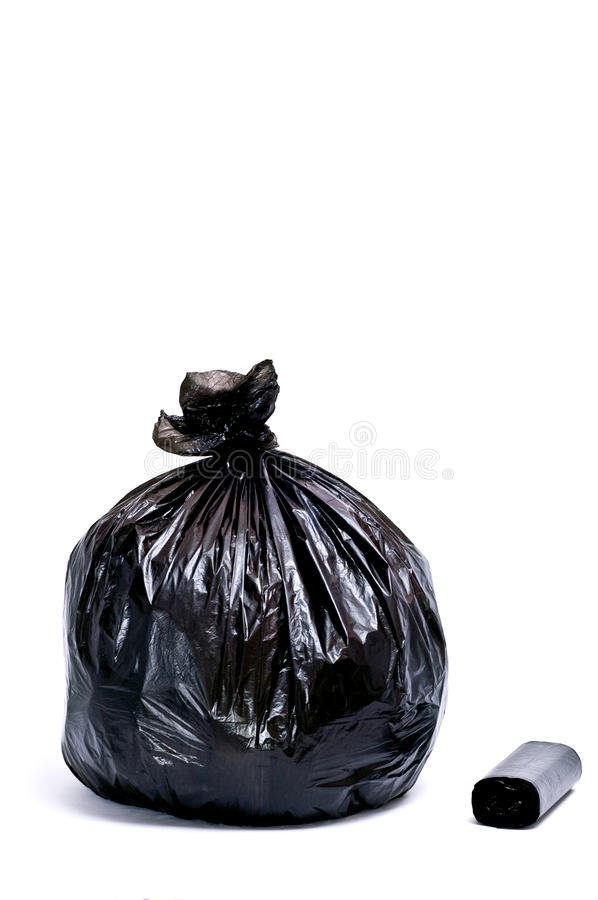 Garbage bags. Black garbage bags isolated on white stock photos