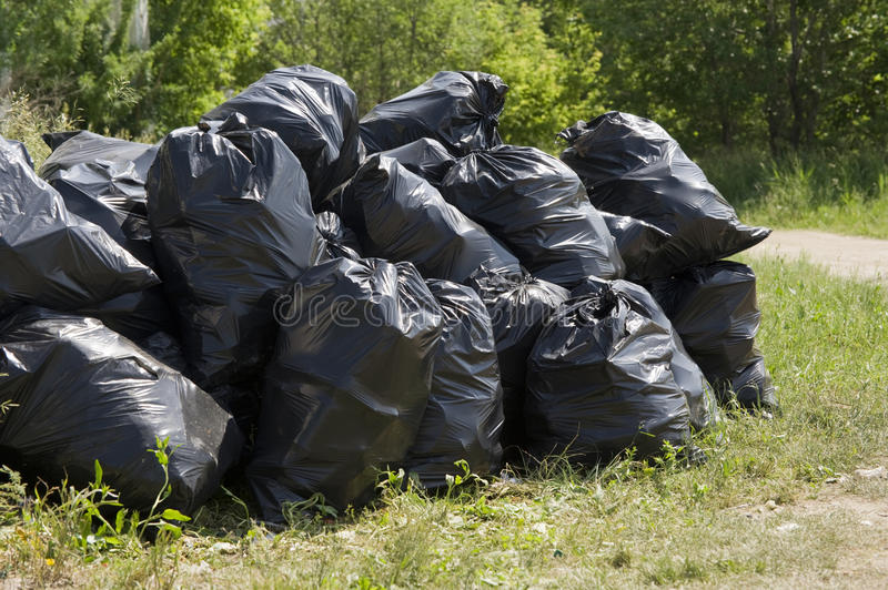 Garbage bags. A pile of plastic garbage bags royalty free stock photos