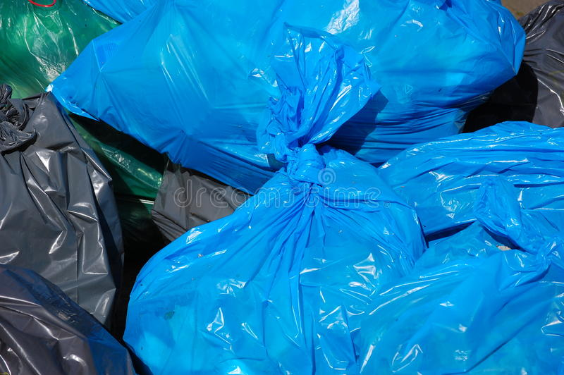 Garbage bags. A collection of garbage bags stock photography
