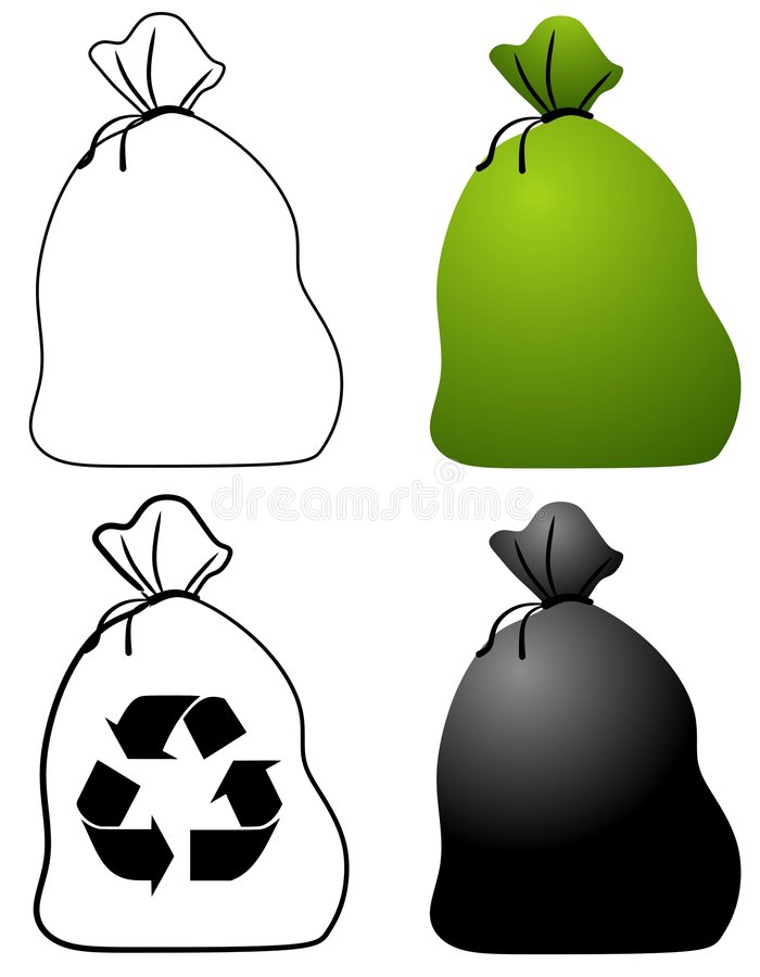 Garbage Bags. An illustration featuring your choice of garbage and recycling bags in black and white, green and black