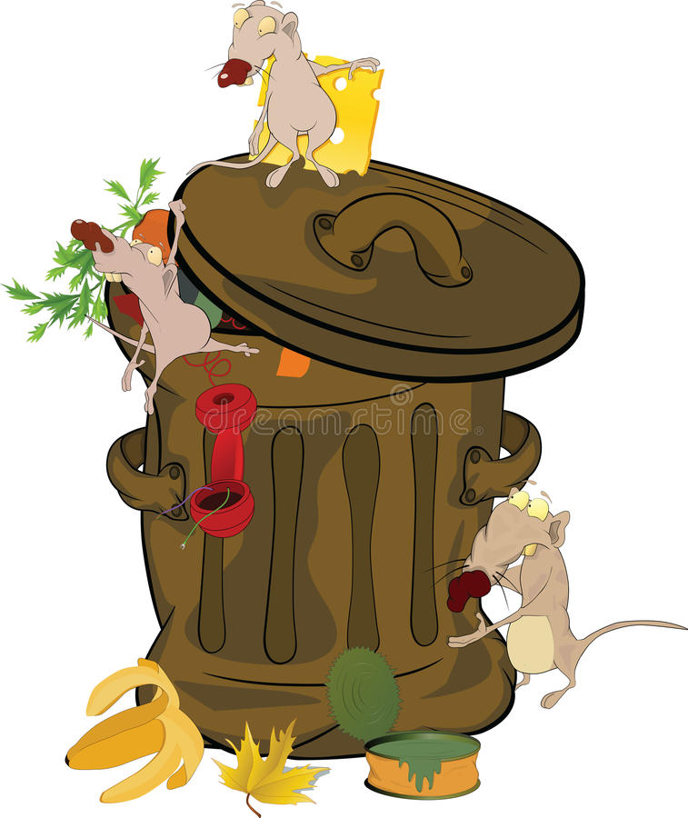 Download Garbage Bank And Rats. Cartoon Stock Vector - Illustration: 21380416