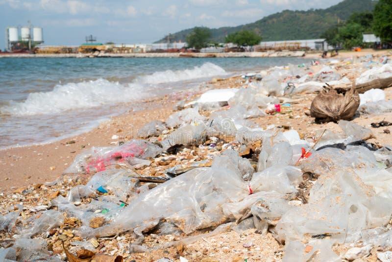 Garbage on the beach, environmental pollution of sea stock photo