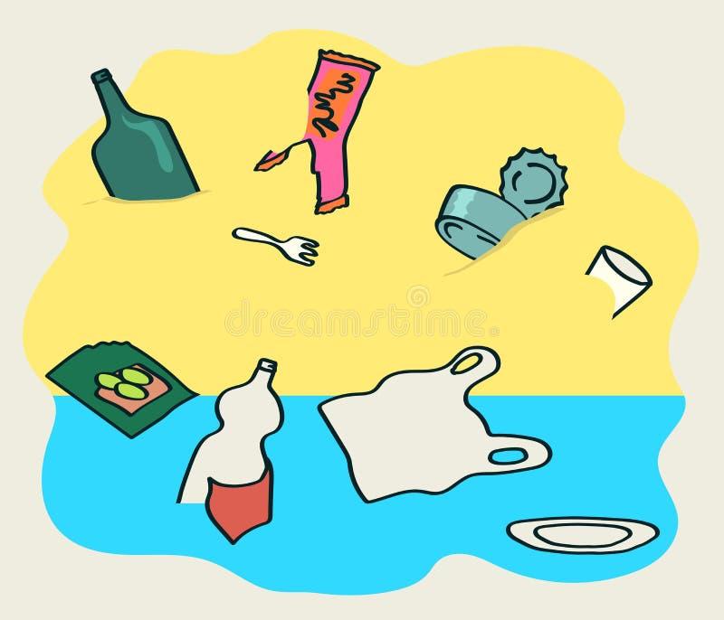 Garbage on the beach. Environmental problem. stock illustration