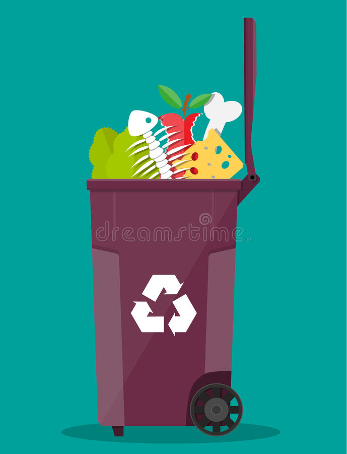 Garbage bin container full of junk food royalty free illustration
