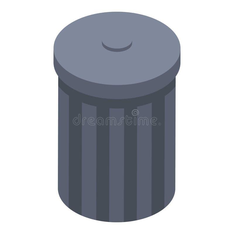 Garbage bin icon, isometric style vector illustration