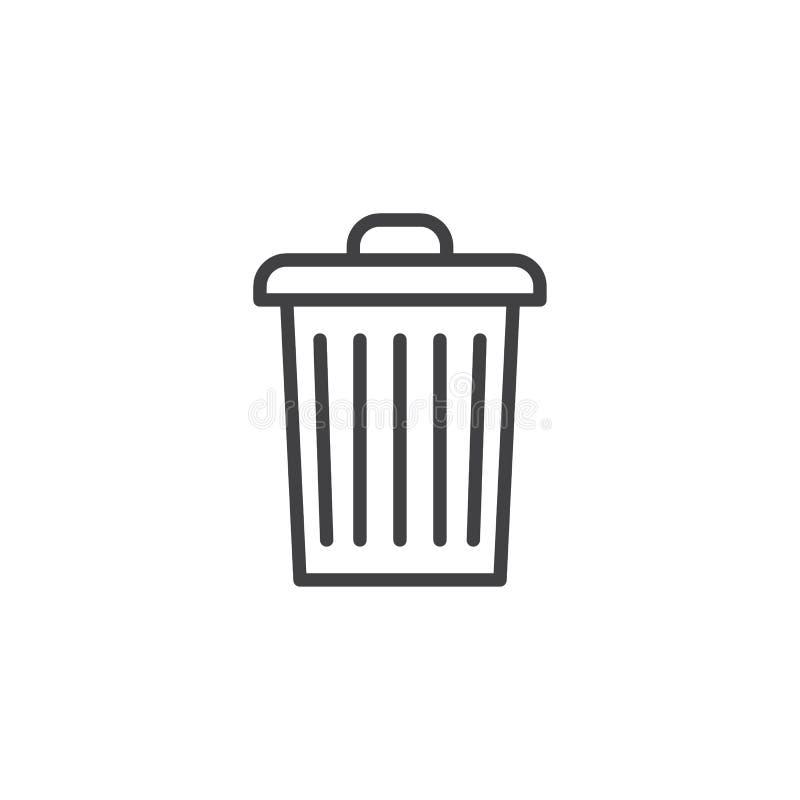 Garbage bin outline icon stock illustration