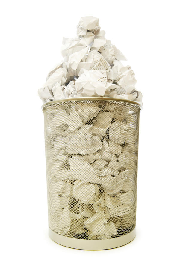 Download Garbage Bin With Paper Waste Isolated Stock Image - Image of recycling, dump: 12676705