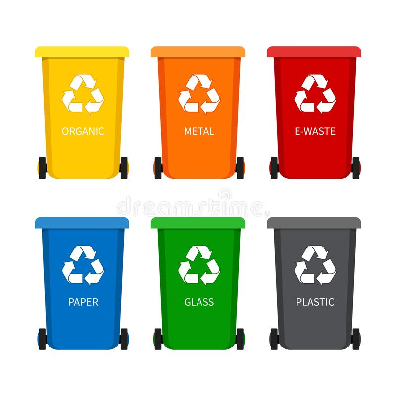 Garbage bin with recycle icon for trash. Container dustbin for paper, plastic, glass, organic, e-waste in flat style.Set of stock illustration