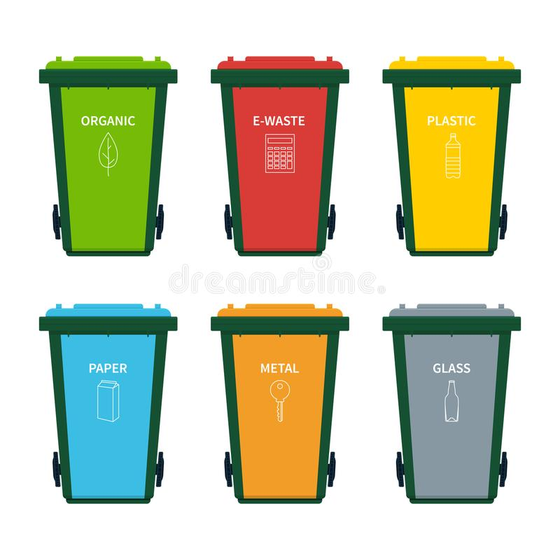 Garbage bin set for recycling waste. stock illustration