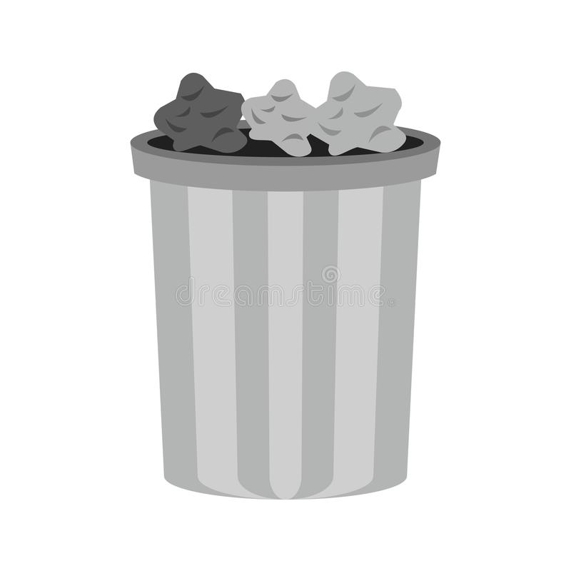 Garbage. Bin, warning icon vector image. Can also be used for warning caution. Suitable for mobile apps, web apps and print media stock illustration