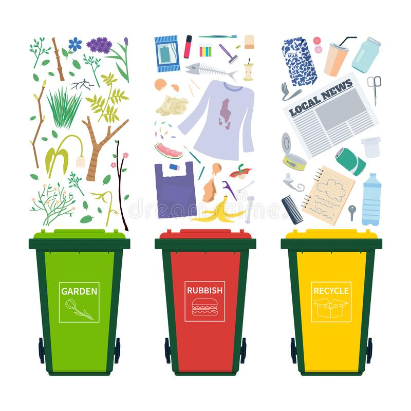 Garbage bins with different waste - recycle, organic, general vector illustration